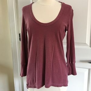 James Perse Maroon Tee Cotton Sz M 3/4 Sleeves